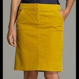 J. Crew mustard corduroy skirt